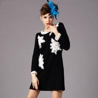 women's black Sequins Jacquard dresses 2014 Autumn Ladies Beaded plus size little black dress with long sleeve xxxl,xxxxl,xxxxxl