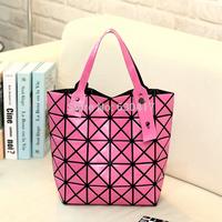 Free Shipping 2014 handbags women leather handbag Famous Designers Brand shoulder totels Women Folding  Plaid Bags