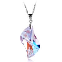 Angel pendant s925 pure silver necklace austria crystal women's birthday short design chain