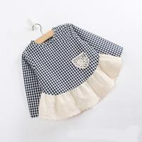2014 children's spring and autumn clothing baby shirt plaid lace long-sleeve T-shirt female child shirt o-neck cute plaid shirt