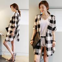 New 2014 fashion black-and-white block plaid women's coat medium-long suit collar cardigan casual shirt outerwear