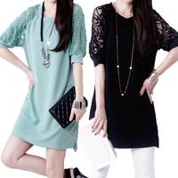 Plus 3XL 2014 Women Summer Dress A-line Short Sleeve Novelty Lace Dress Women Vintage Casual Lace Dresses Vestidos Free Shipping