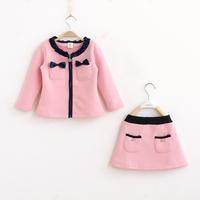 Children's clothing female child bow brushed long-sleeve outerwear short skirt set gentlewomen 100% brushed cotton twinset