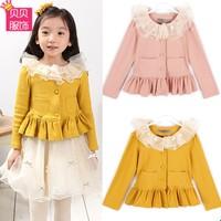 2014 100% autumn cotton long-sleeve female child coat lace decoration baby cardigan princess top