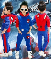 new 2014 spring autumn High quality spiderman hooded long sleeve T-shirt + pant children clothing set kis clothes boys suit 7270
