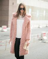Hot Selling 2014 Berber Fleece Fur Coat Large Lapel Long Design Luxury Long-sleeve Female Trench Pink Black Gray Free Shipping