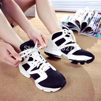 Genuine leather autumn 2014 color block decoration female sport shoes casual shoes sports shoes platform shoes