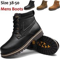 38-50 Plus Size Winter Snow Boots Mens Genuine Leather Ankle Boots Plus Velvet Winter Warm Shoes Men's Martin Boots