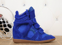Factory Price 1:1 Original quality Isabel marant shoes Blue suede high top height increasing sneakers women's winter shoes