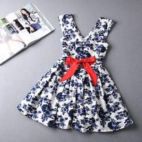 2014 autumn newest fashion Kroean style commute ladies V-neck print vest dress princess dress with bowknot S M L