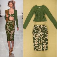 2014 Autumn Runway Fashion Skirt Suits Women's Long Sleeves Green Sweater + Flower Print Knee Length Skirt Clothing Set