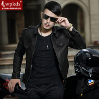 Wpkds2014 sheep genuine leather clothing male short design epaulette turn-down collar slim motorcycle jacket