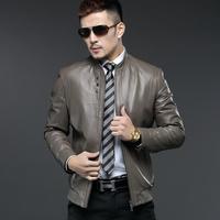 2014 spring new arrival men's genuine leather sheepskin jacket stand collar slim short brief design leather clothing