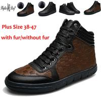 Brand Winter Mens Genuine Leather Ankle Boots Plus Size 38-47 Plus Villus Warm Snow Shoes Flats Heels Shoes Men Sneakers