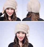 2014 women mink fur hat female full leather mink fur hat winter hat free shipping