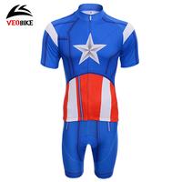 Summer short-sleeve veobike bicycle ride clothing set  ,Captain America