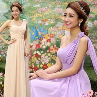 Latest Designs Prom Long short Chiffon Cheap Evening Dress 2014 Lace-up  zipper Evening dress party dress one shoulder