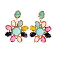 014 new arrival fashionable gold alloy pink green faux stone frigne stand out drop earrings for women brincos boucles bijoux