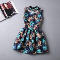 2014 autumn newest fashion Kroean style sweet slim sleeveless women woolen vest dress princess dress with necklace S-XL