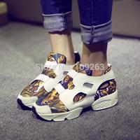 2014 new fashion leather sport shoes female platform shoes color block decoration net fabric lacing women's casual shoes wedges