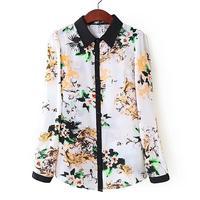 Free shipping 2014 new women Chiffon Slim thin long-sleeved shirt shirt Bottoming clothes