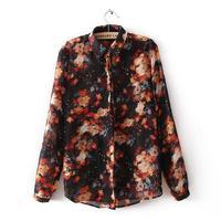 Free shipping 2014 new women Ink Printed floral chiffon shirt loose long-sleeved shirt Bottoming clothes