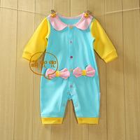For 100% cotton baby bodysuit long-sleeve baby romper autumn romper newborn sleepwear male