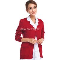 V-Neck Nurse Clothing Navy Blue Thickening Winter Sweater Free Shipping M-422