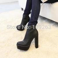 2014 new women High-heeled boots thick heel round toe boots all-match side zipper ultra high heels martin boots JX42