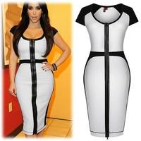 XXL Women summer dress o-neck elegant short-sleeve slim mid waist pencil dress patchwork plus size one-piece dress