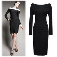 Women autumn long-sleeve strapless bandage elegant elastic slim black pencil dress one-piece dress