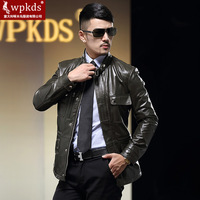 Wpkds2014 slim genuine leather male trench male genuine leather clothing medium-long casual leather coat