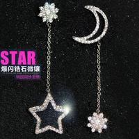 moon& star asymmetrical earrings stud earring Dangle Earring for Women/Girls Earrings 925 Sterling Silver Wedding Jewelry e491