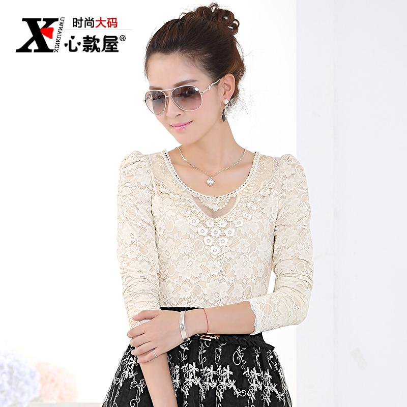 Plus size clothing autumn long-sleeve plus velvet basic shirt thickening lace t-shirt female top(China (Mainland))