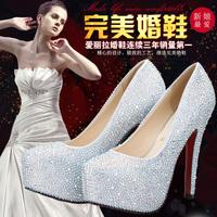 Wedding shoes female high-heeled platform shoes red crystal rhinestone white wedding shoes bride wedding pregnantwith single