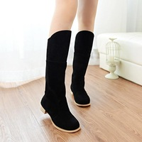 2014 women's autumn shoes over knee boots scrub martin boots flat single boots flat heel medium-leg boots red shoes JX4388