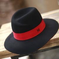 Level red black m woolen hat fashion street fedoras m color block decoration cap