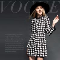 Fashion high quality slim medium-long houndstooth print overcoat