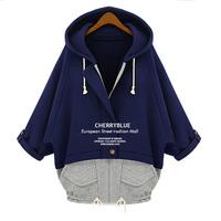 Women coat winter 2014 plus size clothing three quarter sleeve with a hood plus velvet fleece sweatshirt outerwear sweater