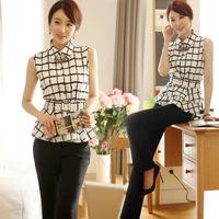 2014 elegant black and white plaid turn-down collar ol slim elegant sleeveless chiffon shirt female