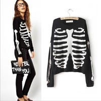 Fashion autumn women skulls and bones pattern black loose knitted cotton long-sleeve pullover sweaters