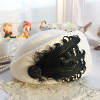Woolen cap spring and autumn winter feather small fedoras adjustable perimeter beret hat female hat stewardess cap