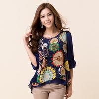 Women shirt plus size chiffon young girl clothing loose fancy shirt medium-long shirt plus size chiffon shirt fashion model 7548
