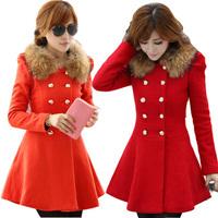 2014 women's woolen outerwear slim medium-long wool collar double breasted woolen overcoat