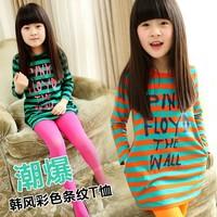 2014 female child bold stripe casual loose long design 100% letter cotton t-shirt o-neck long-sleeve basic