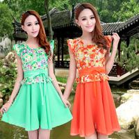 2014 Women summer dress casual flower print dress vestidos femininos one_plus free shipping