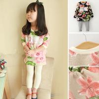 2014 autumn children's clothing flower female child baby casual sweatshirt basic skirt pants set