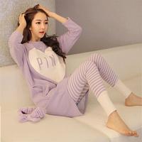 Hot-selling autumn pink sleepwear female long-sleeve 100% cotton heart princess loose pink lounge set