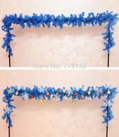 2.7M 2pcs Christmas tree vine bundle decoration  blue rattails no other decorative hanging drop