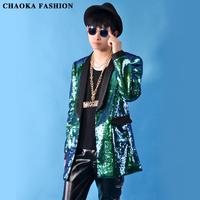 2014 New Korean fashion Male green sequins long design jacket Emerald paillette suit clothes  singer DJ dancer bodysuit